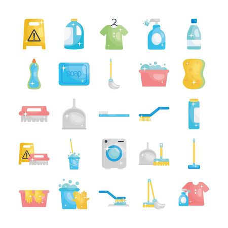 disinfection elements and cleaning brushes icon set over white background, flat style, vector illustration
