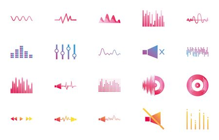 gradient style icon set design, waves music sound melody musical song art signature culture and tune theme Vector illustration