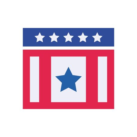 Usa rectangle with stars flat style icon design, United states independence day country and national theme Vector illustration