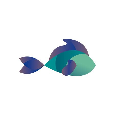 Fish animal gradient style icon design Sea life ecosystem fauna and ocean theme Vector illustration