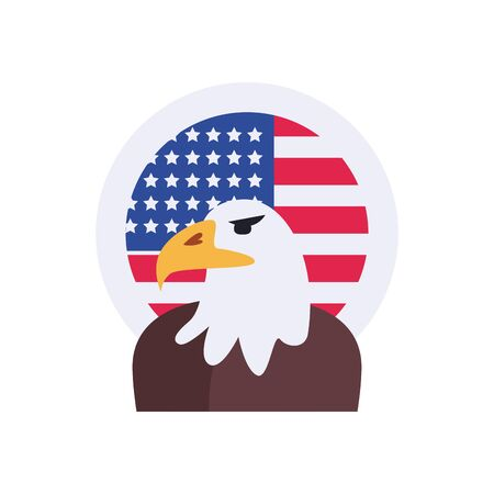 Usa eagle with flag seal stamp flat style icon design, United states independence day country and national theme Vector illustration