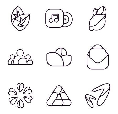 Abstract shapes line style icon set design, Logo brand and corporate theme Vector illustration