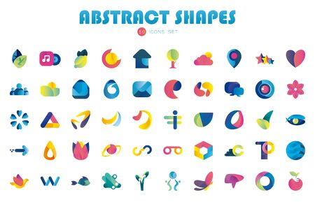 50 Abstract shapes gradient style icon set design, Logo brand and corporate theme Vector illustration