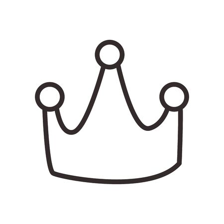 Crown line style icon design, Royal king queen luxury jewelry kingdom and coronation theme Vector illustration Stock Photo