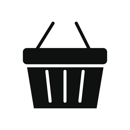 shopping basket icon over white background, silhouette style, vector illustration