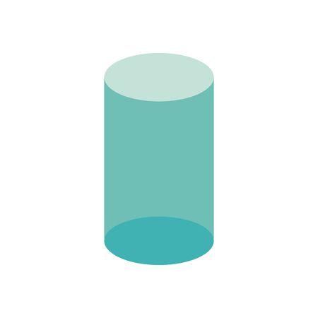 3d cylinder flat style icon design, Geometric shape theme Vector illustration