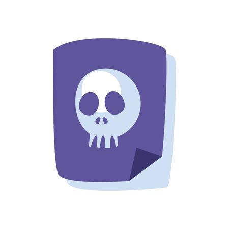 document with skull flat style icon design of Hack information and security system theme Vector illustration