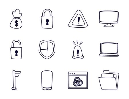 line style icon set design of Hack information and security system theme Vector illustration Banque d'images