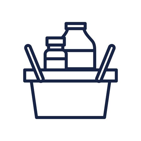 basket with food products icon over white background, line style, vector illustration