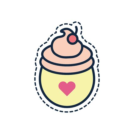Ice cream line fill style icon design, Sweet dessert food flavor scoop summer dairy and tasty Vector illustration