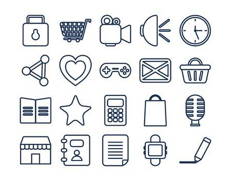 line style icon set design, Social media apps multimedia communication digital marketing internet web and connect theme Vector illustration