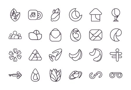 Abstract shapes line style icon set design,icon brand and corporate theme Vector illustration