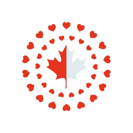 canada day concept, round frames of hearts and maple leaf icon over white background, silhouette style, vector illustration