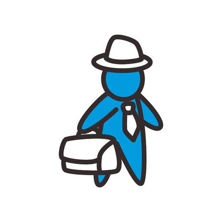 Avatar with necktie suitcase and hat flat style icon design, male person and human theme Vector illustration