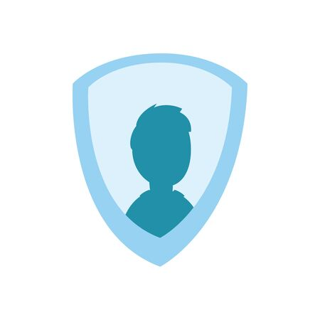 Man avatar inside shield flat style icon design, Label tag banner product and protection theme Vector illustration