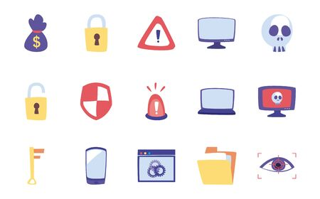 flat style icon set design of Hack information and security system theme Vector illustration