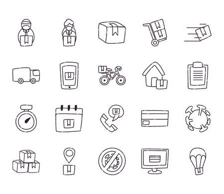 line style icon set design, Safe delivery logistics and transportation theme Vector illustration