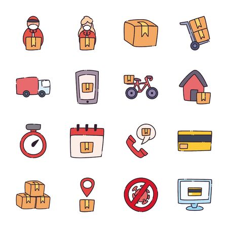 flat style icon set design, Safe delivery logistics and transportation theme Vector illustration