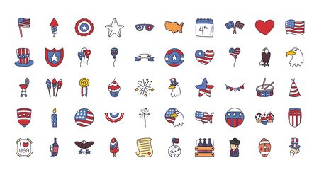 fill style icon set design, Independence day usa united states and national theme Vector illustration