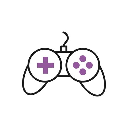 videogame control icon over white background, half line half color style, vector illustration
