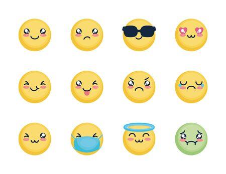 angel emoji and emojis icon set over white background, flat style, vector illustration Foto de archivo
