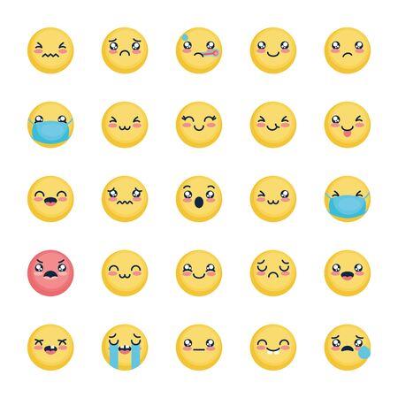 crying emoji and emojis icon set over white background, flat style, vector illustration Foto de archivo