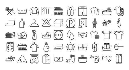 textile care symbols icon set over white background, line style, vector illustration Foto de archivo