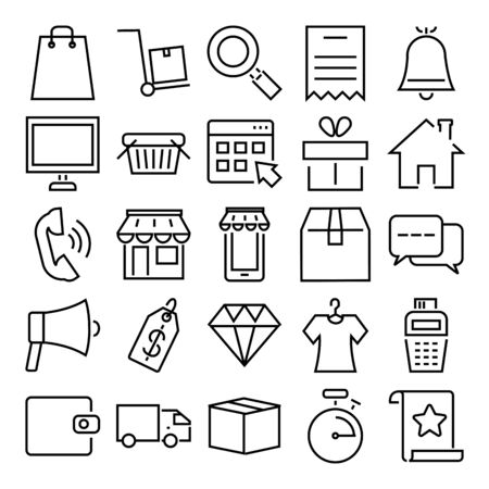 diamond and shopping online icon set over white background, line style, vector illustration Иллюстрация