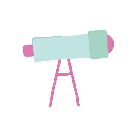 telescope tool icon over white background, flat style, vector illustration