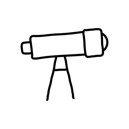 telescope tool icon over white background, line style, vector illustration