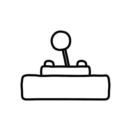 retro videogame control icon over white background, line style, vector illustration