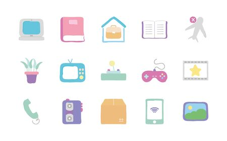 laptop computer and quarentine icon set over white background, flat style, vector illustration