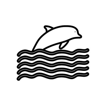 dolphin and waves over white background, line style, vector illustration