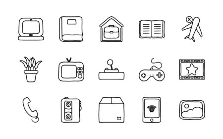 laptop computer and quarentine icon set over white background, line style, vector illustration Vectores