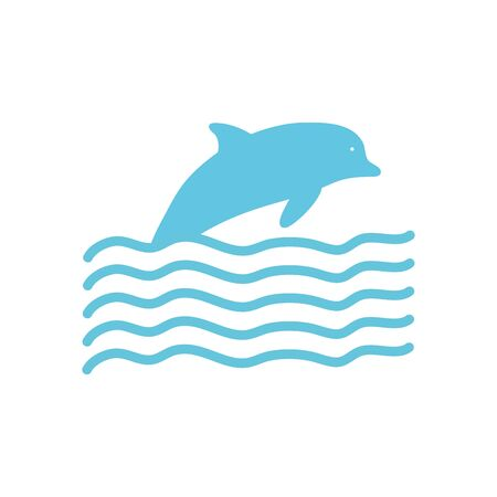 dolphin and waves over white background, flat style, vector illustration
