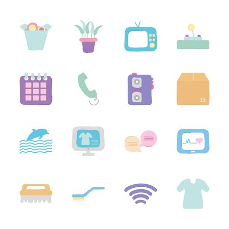 retro television and quarentine icon set over white background, flat style, vector illustration Vectores