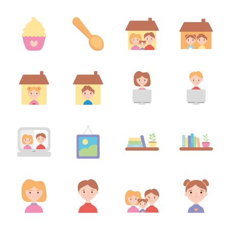 cupcake and Stay home icon set over white background, flat style, vector illustration