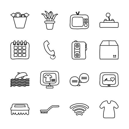 retro television and quarentine icon set over white background, line style, vector illustration Vectores