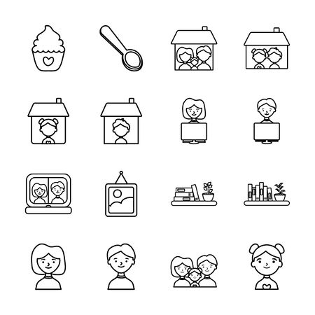 cupcake and Stay home icon set over white background, line style, vector illustration
