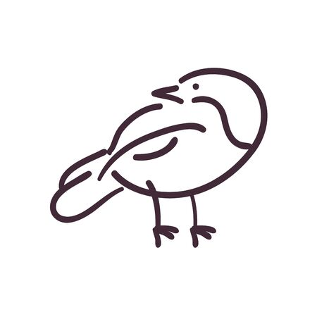 bird cartoon line style icon design, Animal feather wildlife and beak theme Vector illustration