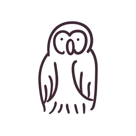 owl cartoon line style icon design, Animal feather wildlife and beak theme Vector illustration