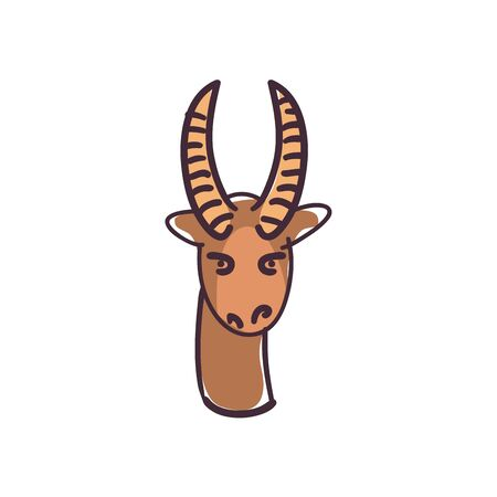 antelope cartoon flat style icon design, Animal zoo and life theme Vector illustration