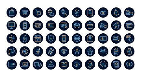 shopping online icon set over white background, neon style, vector illustration