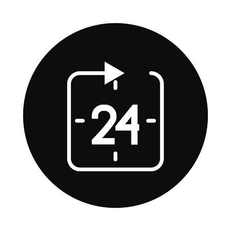 24 hours symbol over white background, block style, vector illustration