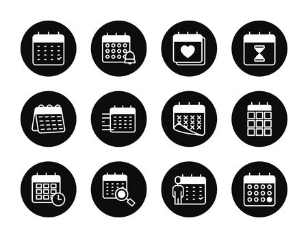 magnifying glass and calendar icon set over white background, block style, vector illustration