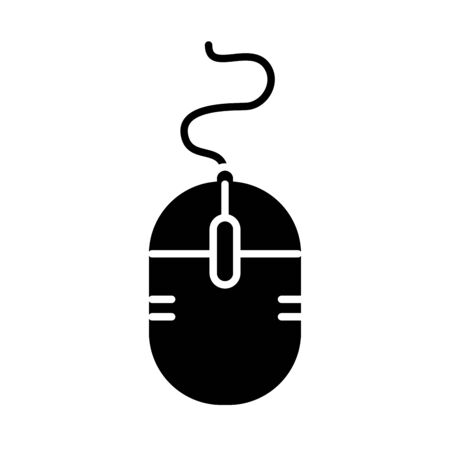 mouse device icon over white background, silhouette style, vector illustration Çizim