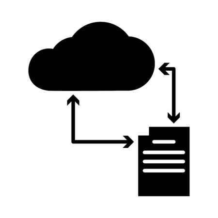 online learning concept, cloud storage and education document icon over white background, silhouette style, vector illustration Иллюстрация