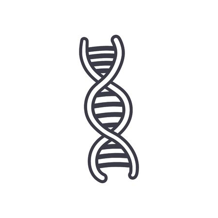 Dna structure line style icon design, Chromosome science molecule genetic biology medical cell medicine and research theme Vector illustration