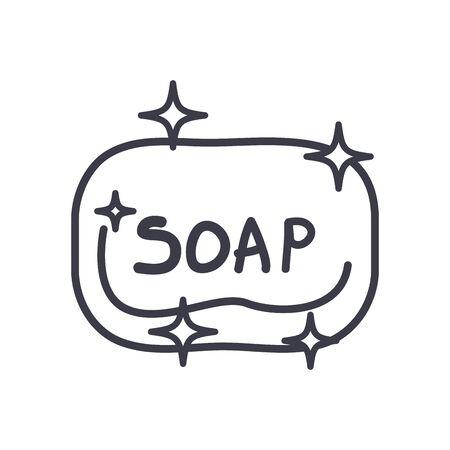 Soap bar line style icon design, Hygiene wash health clean healthy bacteria bathroom protection and liquid theme Vector illustration Vectores
