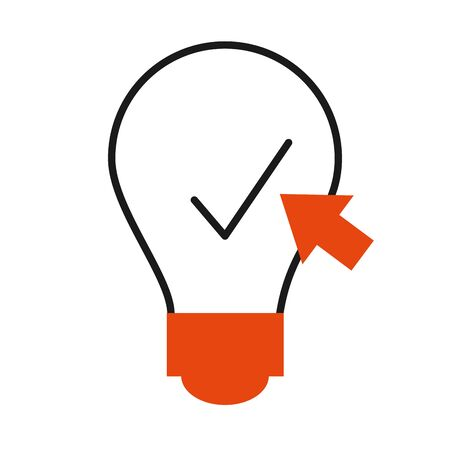 online learning concept, idea bulb with check mark and web cursor icon over white background, half color half line style, vector illustration